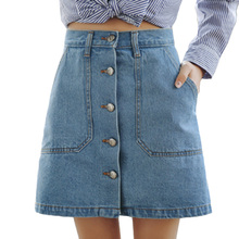 Buy 2017 Summer Style Women Mini Skirts High Waist Sexy Womens Pockets Blue Single Breasted Denim A-Line Skirt for $13.64 in AliExpress store