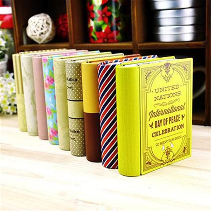 Tinplate Container Storage Box Book Shape Case Bins Trinket Gift TinColorful Cute Metal Organizer Coffee Shop Decoration(China (Mainland))