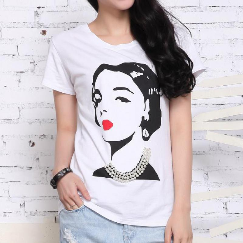 Summer New Beading Loose 100% Cotton T Shirts Printing Brief Casual Street Fashion Soft Euro Style Brand Women Tees(China (Mainland))