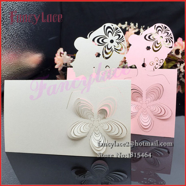 50PCS Free Shipping Hot Sale Wedding Sweet Girl Place Names Cards Happy Flowers Girl Wedding Invitation Table Decorative Card(China (Mainland))