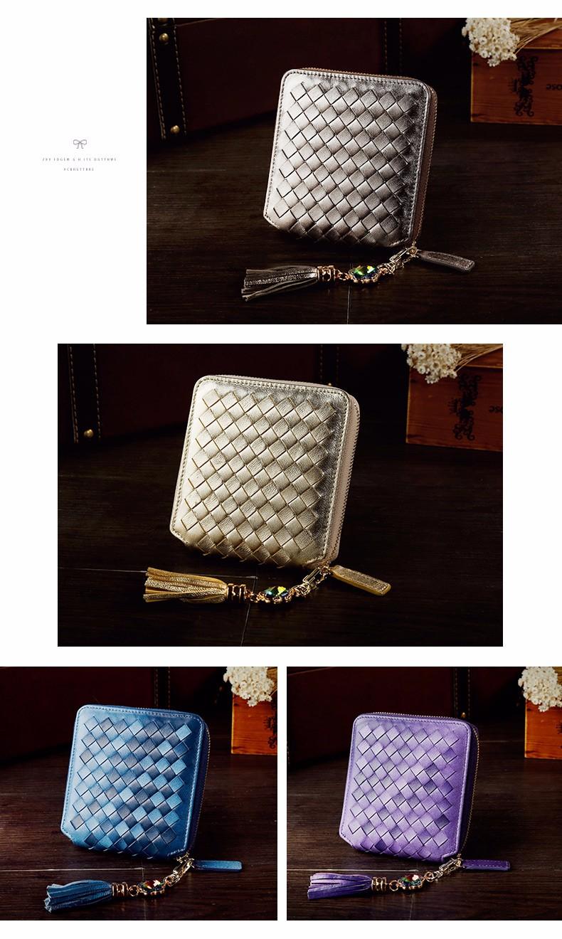 Rumbai Ornamen Manual Knitting Baru Fashion Kecil Tas Impor Kulit Domba Ritsleting Dompet Wanita Bergaya Tas Wanita MINI