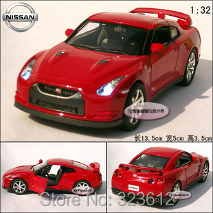 Free shipping New 1:32 Nissan GTR R35 Alloy Diecast Vehicle Model Car Toy Collection With Sound&Light Red B259(China (Mainland))