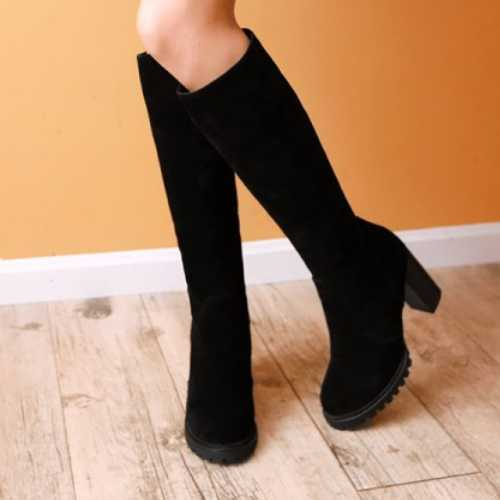 New Discount Charming Girls Round Toe Solid Knee High Boots Fashion Zip Women Shoes Female Pretty Thick High Heel Knight Boots<br><br>Aliexpress