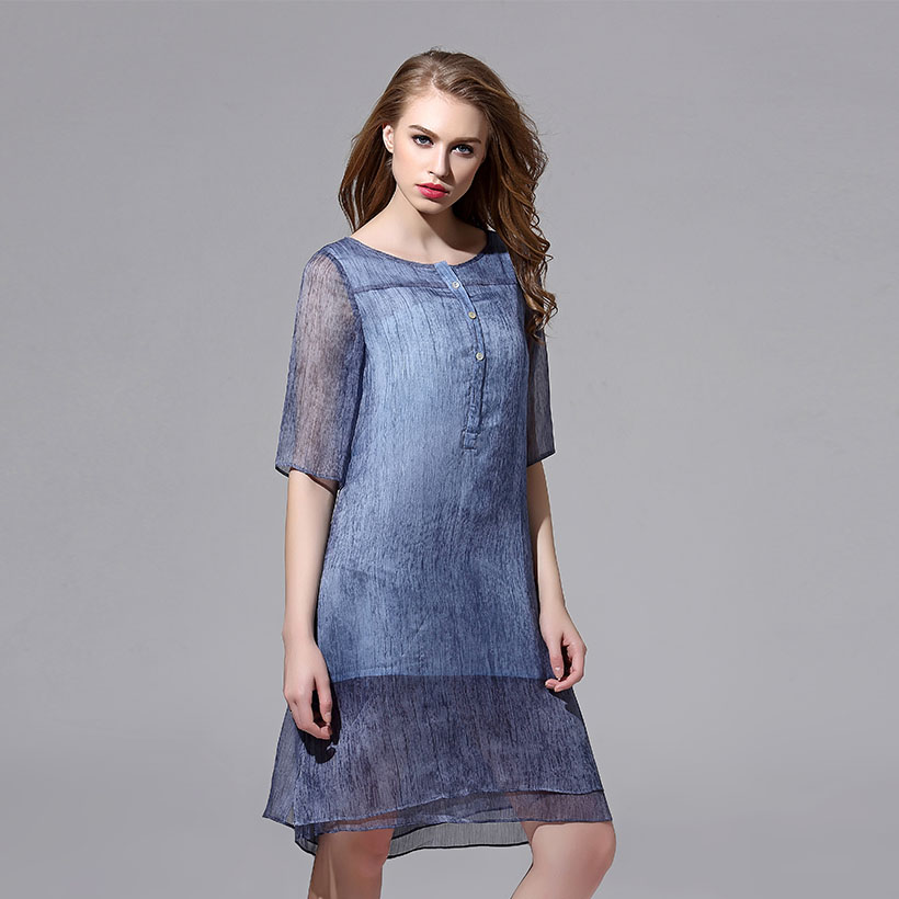 Double-layer Blue Dress for Women Casual Bohemian O-Neck Half Sleeve A-Line Lady Dress Solid Clothing Summer Dresses 2016(China (Mainland))