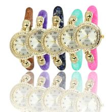 Nuevo modelo alta calidad de cuarzo reloj pulsera moda mujer / hombre reloj Ladies que muchos coloreen rojo / azul / color de rosa / brown M18