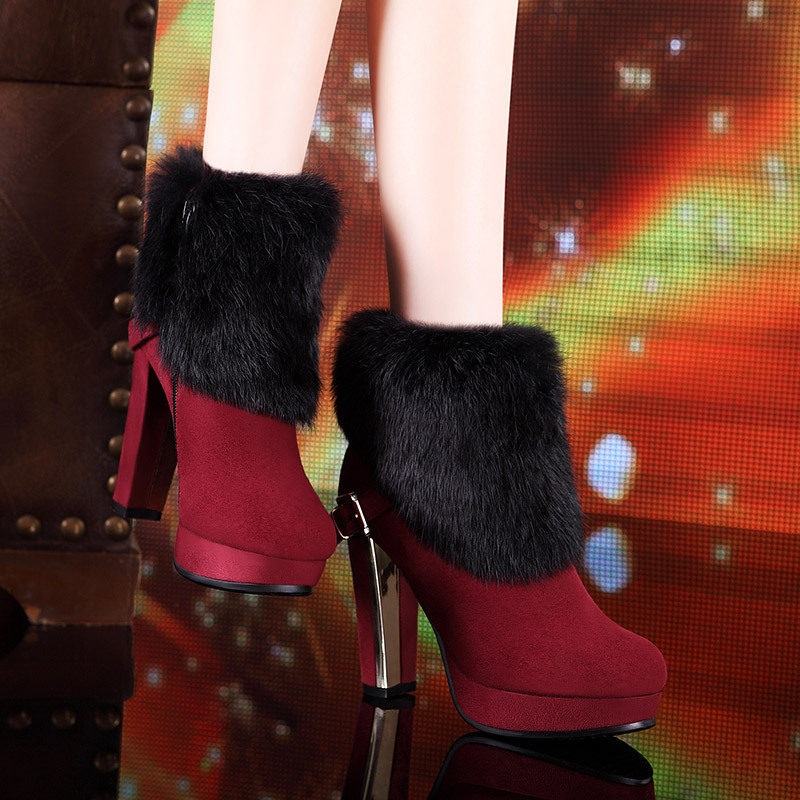 2015 Women Winter Floding Rabbit Fur Ankle Boots Square High Heels Platform Ladies Booties Womens Winter Shoes Platform Boots(China (Mainland))