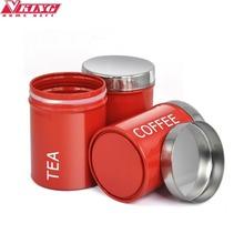 V-KING  3pc/set Elegant  Stainless steel  tea coffee sugar storage jars storage bottle Red Coffee Tea Sugar Container Set(China (Mainland))