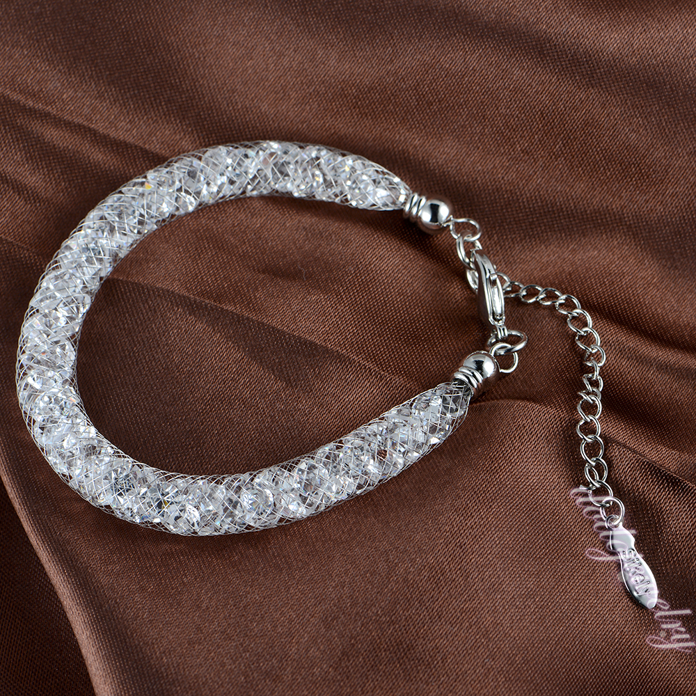 18K White Gold Plated Stardust Bracelet Net Mesh Crystals Hot Selling Christmas Gift B35<br><br>Aliexpress