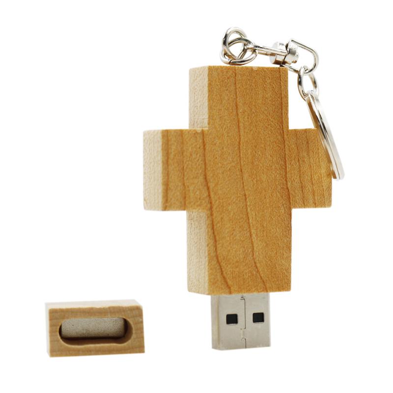 Garunk Wooden Cross USB Flash Drive 16gb Wooden USB Cross 32GB Cross USB Stick 4GB Cross Memory Stick 8GB print LOGO pendrives(China (Mainland))
