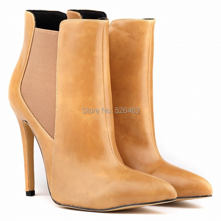 New Winter and Autumn Women Boots Genuine Leather Boots Pointed Toe Thin High Heels Short Naked Boots Shoes Woman botas SHOE023