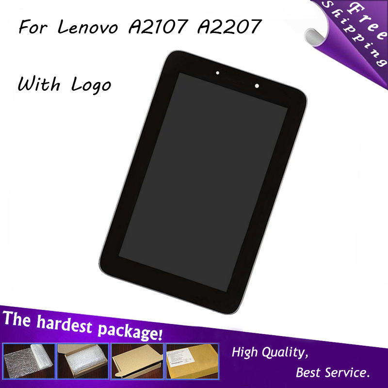 """7"""" Inch Black For Lenovo IdeaTab A2107 A2207 LCD Display+Touch Screen Digitizer Full Assembly Replacements With Frame(China (Mainland))"""