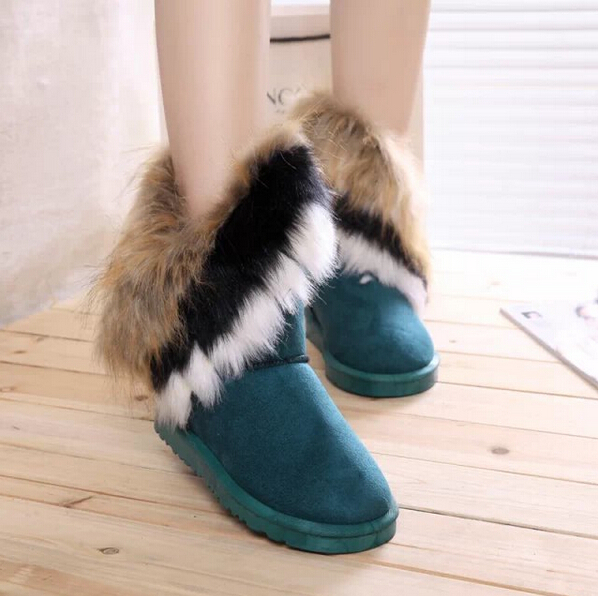 2015 winter snow boots large wool export imitation fox fur boots shoes boots Piwama tassel high cylinder(China (Mainland))