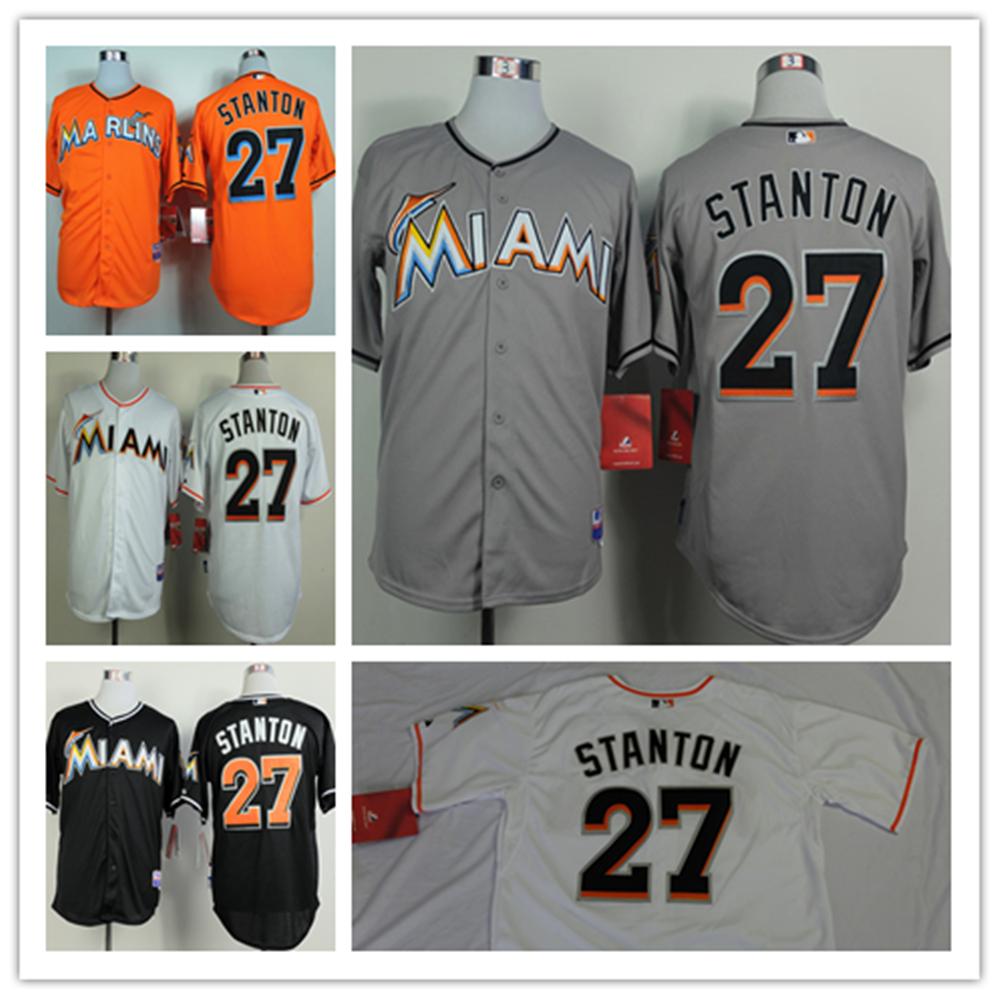 Giancarlo Stanton Jersey 27 Miami Marlins Men's Baseball Jersey Cheap Stitched Jerseys Size:S-XXXL Free shipping