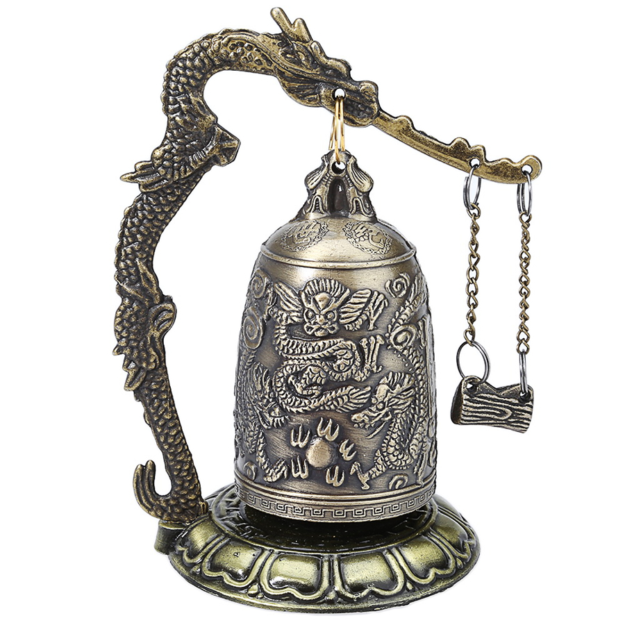 Bronze Lock Dragon Carve Buddhist Bell Decoration Zinc Alloy Vintage Style Chinese Geomantic Design Artware Exquisite Home Decor(China (Mainland))