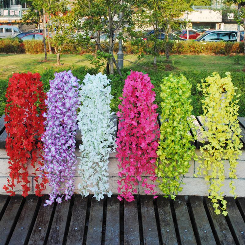 Artificial flowers home balcony window decor vine plastic for Artificial plant decoration home