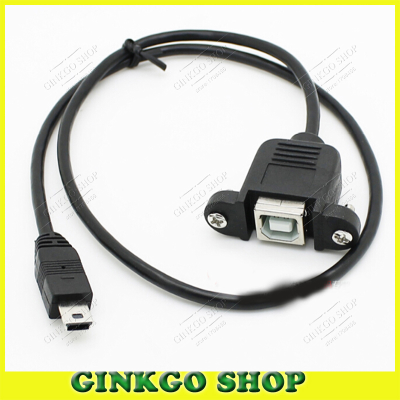 3pcs/lot 0.5m Mini USB to USB-B Type Printer Extension Cable Male to Female Jack with Fixed Screw Hole Free Shipping(China (Mainland))