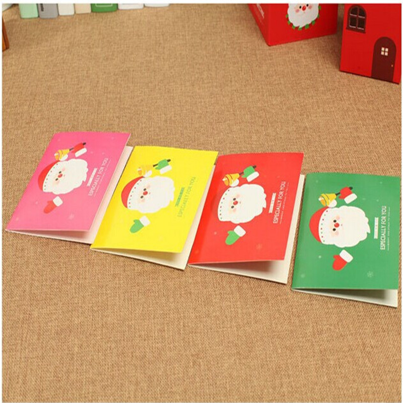 New Stylish Best Promotion 4pcs/set New Colorful Greeting Cards With Envelopes For Christmas Xmas New Year Gift(China (Mainland))