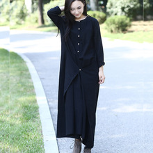 Black Long sleeve Linen Cotton Women long Dress Novelty design Plus size Autumn Winter Dress Mori girl Rope Gown Dresses 3004(China (Mainland))