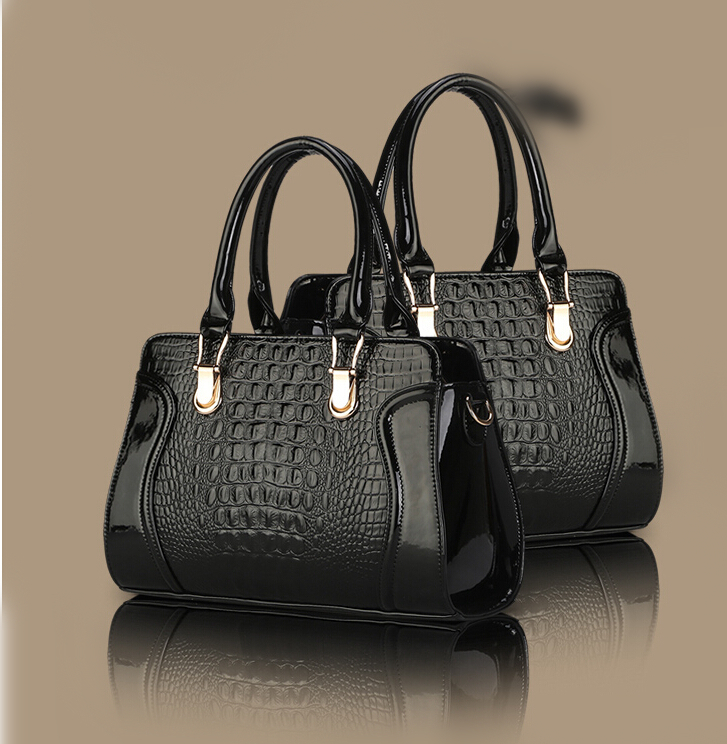 Women Elegant Handbags Famous Brand Crocodile Patent Leather Ladies Tote Bags Female Shoulder Crossbody Bags Disgual Bolsas(China (Mainland))
