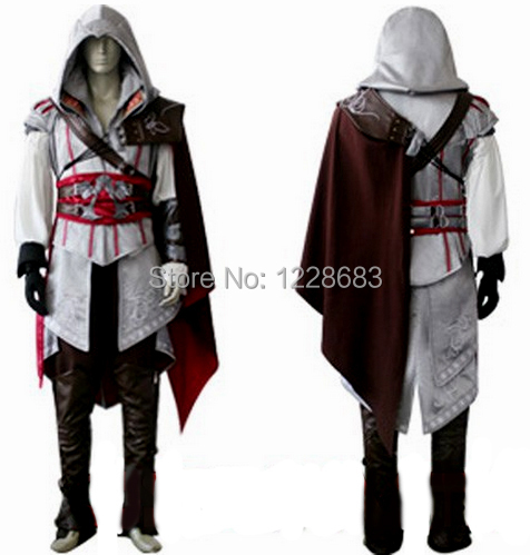 Free Shipping High Quality Custom Made Assassins Creed 2 II White Anime Costume Ezio Cosplay(China (Mainland))