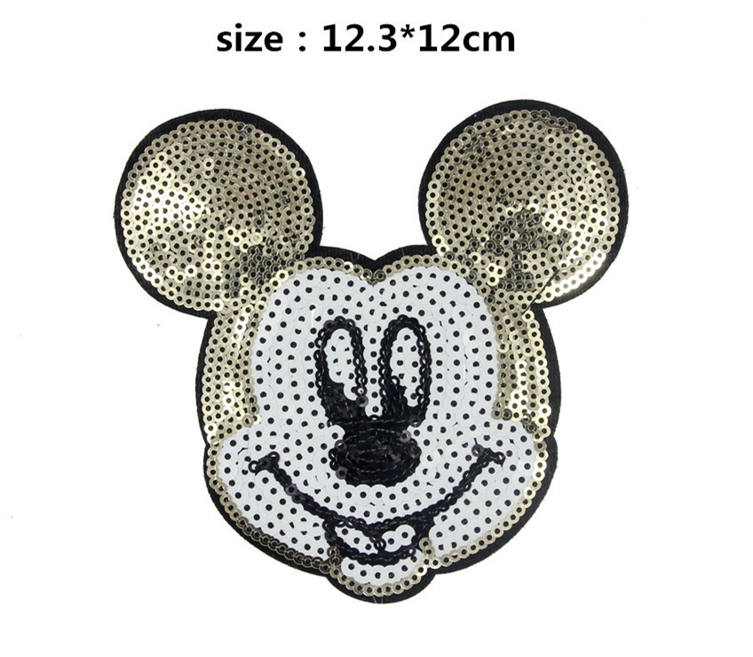 Free Shipping 12.3*12cm 10 pcs Sequin Mickey Embroidered patch iron on Motif Applique, garment embroidery patches DIY accessory(China (Mainland))