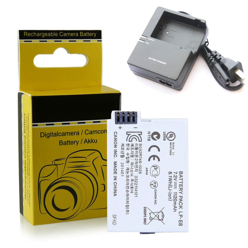 LP-E8 LP E8 Battery Pack Charger Canon EOS 550D, 600D, 650D, 700D Rebel T2i, T3i, T4i, T5i Digital SLR Camera - Charles fur store