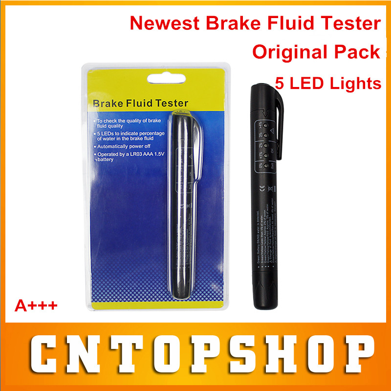 Retailing Package Brake Fluid Test Pen With 5 LED Lights Digital Brake Liquid Tester Auto Vehicle Brake Liquid Detector Pen(China (Mainland))