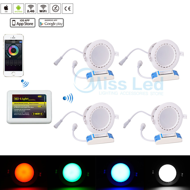 4x 12w RGB Warm/Cold White Led Downlight Dimmable Adjustable RGBW +Mi light Wifi controller via IOS Android for led downlight(China (Mainland))