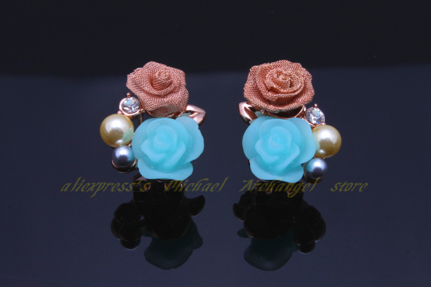 Romanticism Stud Earrings New Fashion 18 k rose gold plated pearl flowers party - Michael Archangel store