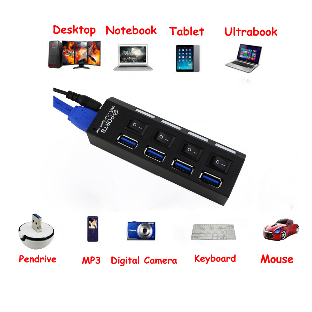 USB 3.0 Hub 4 Port Super Speed 5Gbps 4-port USB 3.0 Hub With on/off Switch For Windows Mac OS Linux PC Laptop Black with Adaptor(China (Mainland))