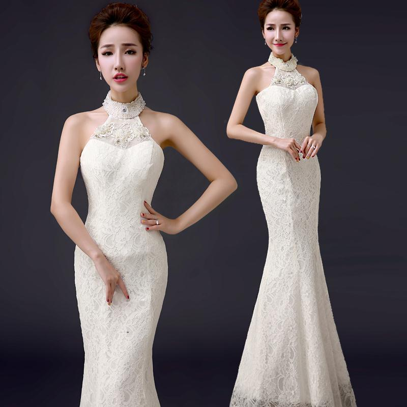 Spring 2015 new fashion evening dress lace halter fishtail for White fishtail wedding dress