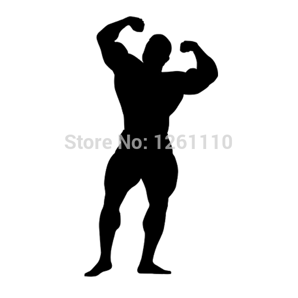 Bodybuilder Silhouette Gym Sport Car Styling Funny Car Stickers for Cars Acessories Decoration Truck Window Bumper Vinyl Decal(China (Mainland))
