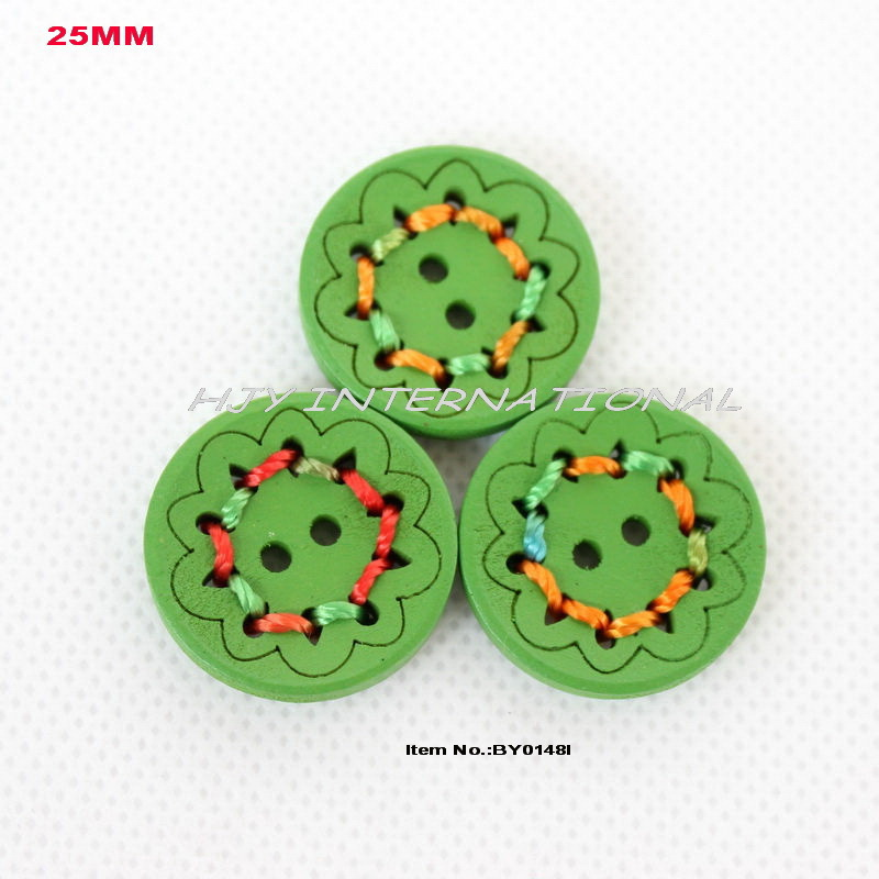 """(100pcs/lot) green wooden bulk button sewing buttons 25mm,1""""-BY0148I(China (Mainland))"""