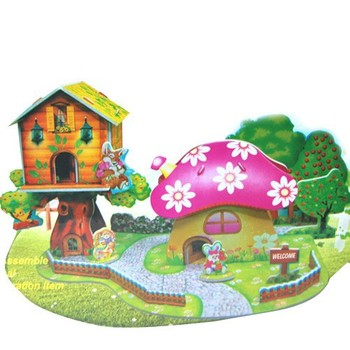 Mushroom Garden 3D Paper Cardboard Puzzle DIY Handmade Early Educational Toy Jigsaw Puzzle Child Toy 3D Puzzle Free Shipping