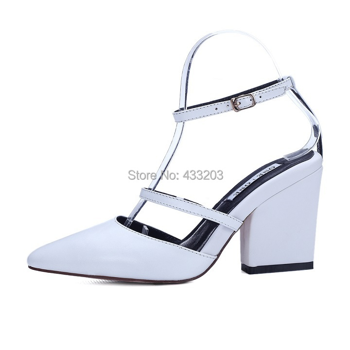 Фотография 2016 Spring Women Pumps Genuine Leather Chunky High Heels Sexy Pointed Toe Gladiator Party Dress Shoes Woman