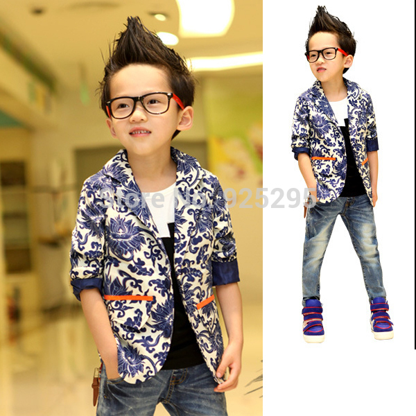 Fashion Kids Boys Jacket Coat Blue and white Porcelain Printed Suit Costume 2-7 Years Woven tops XL166(China (Mainland))