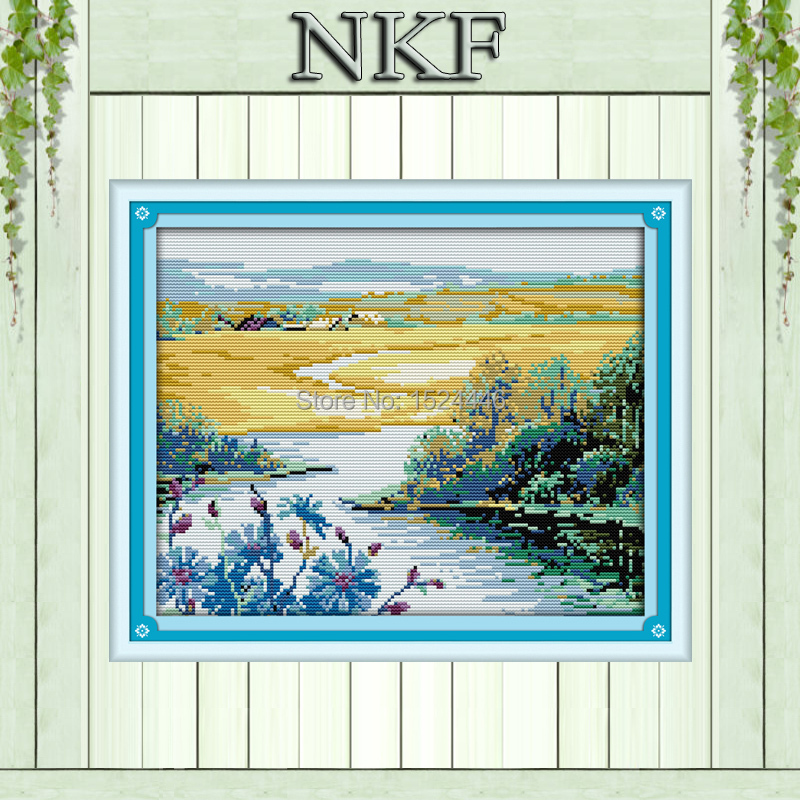 Beautiful spring season wild river Scenery,Counted print on canvas DMC 14CT 11CT NKF Cross Stitch Needlework kits Embroidery Set(China (Mainland))