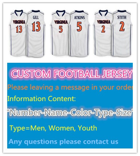 #2 smith,#5 Darion Atkins,#13 Anthony Gill Virginia college White basketball Jersey,custom any sizes ,name, numbers are stitched(China (Mainland))