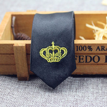 New Arrival Trendy Student Suit Necktie Polyester Silk Ultra-narrow Black 5cm Gold Silver Crown Neck Ties For School Activities(China (Mainland))