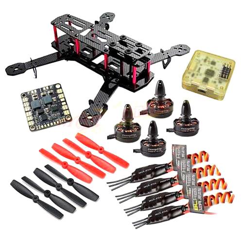 QAV250 Carbon Quadcopter MT2204 2300KV Motor BLHeli 12A ESC CC3D FC 5045 Props