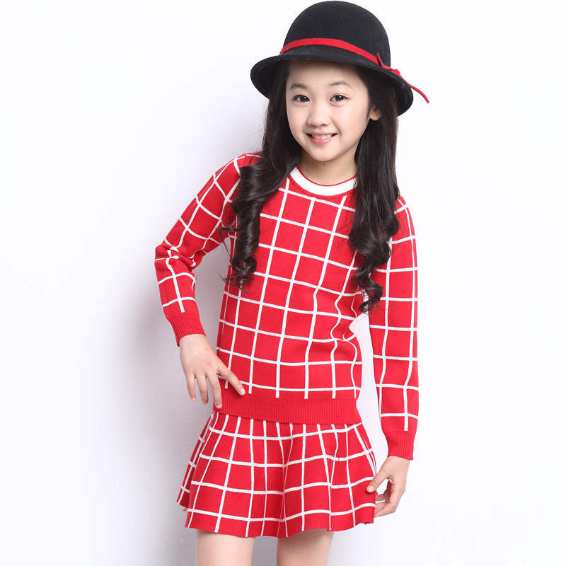 New 2015 girl cotton plaid skirt children 2-8y 11 clothing set brand kids plaid school skirt shirt two piece set spring style(China (Mainland))