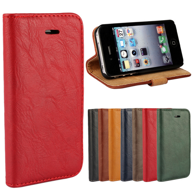 2015 Real Hot Covers Bark Pattern Wallet Case For Iphone 4 4s New Arrival Retail Mobile Flip Phone Bag Cover For Classic Color(China (Mainland))