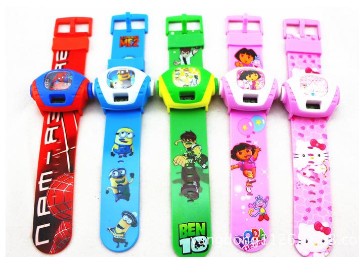 Free Shipping 1pcs/lot dora/ben/kitty/spiderman/Spongebob Children Electronic projection watch/ Quartz Cartoon Watches(China (Mainland))