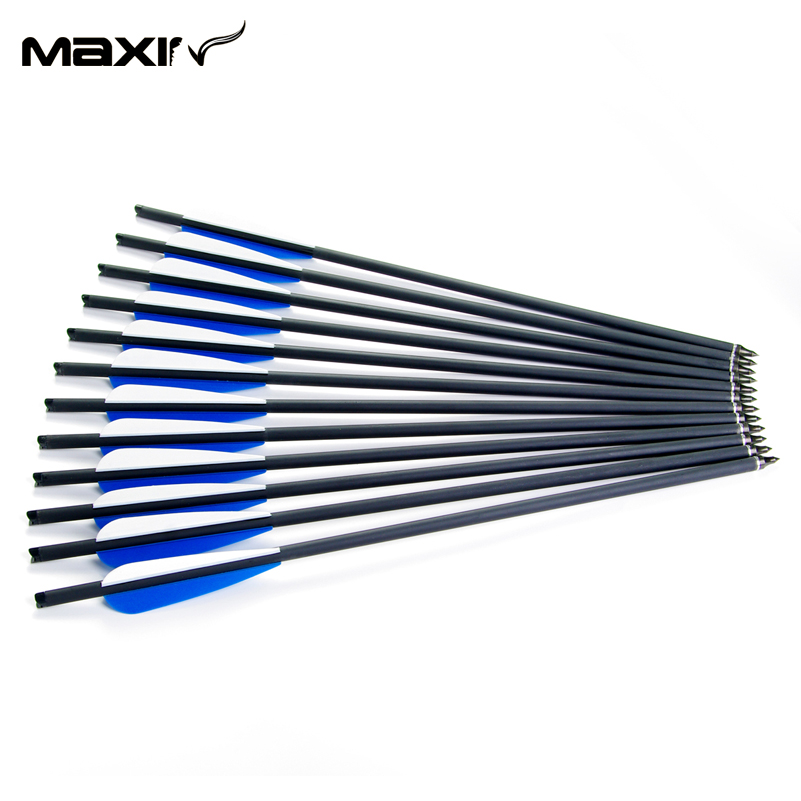 12pcs Lot 8 8mm Archery Carbon Arrow 20 Inch Blue Turkey Feathers Iron Shooting Hunting Carbon