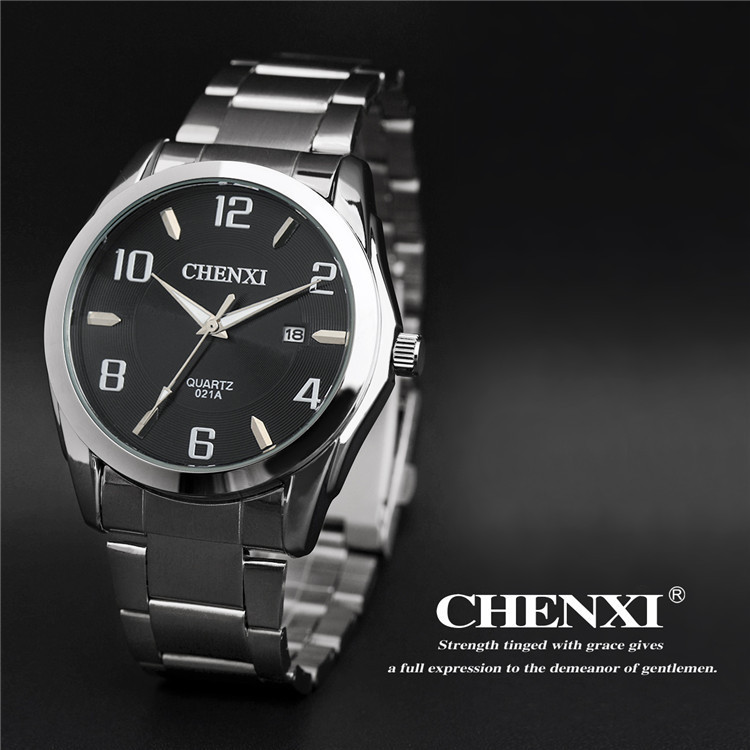 Hot sale Men's Quartz Stainless Steel Watches Business Wristwatch Auto Date Silver band White Black Dial Watch Chenxi Watch(China (Mainland))