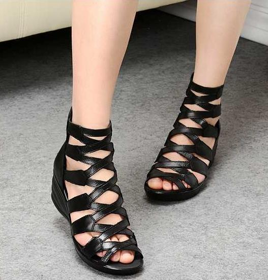 2016 summer Fashion  sandals genuine leather soft outsole comfortable open toe wedges mother shoes flat sandals <br><br>Aliexpress