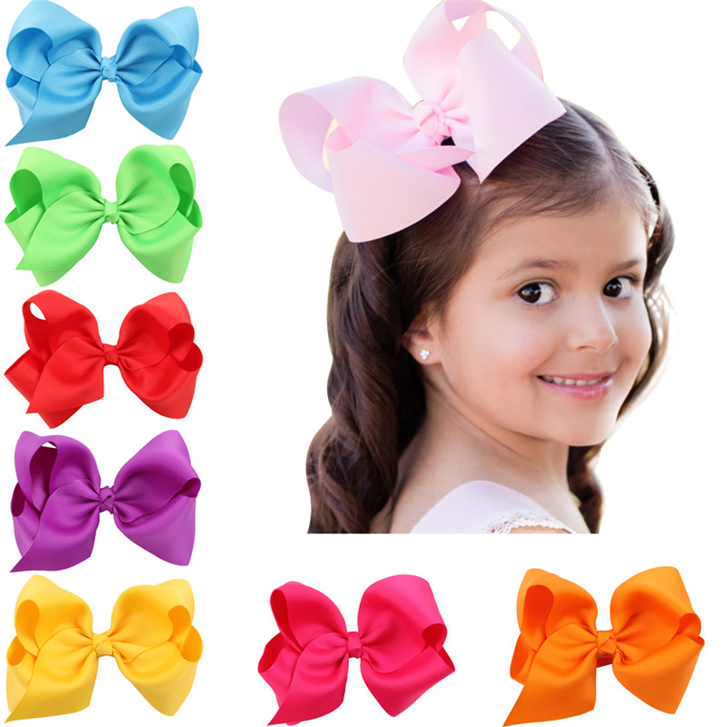 5 Inch Big Hair Bow baby Girls Solid Ribbon Hair Bows With Clip Boutique Hair Clips Hairpin Baby Hair Accessories(China (Mainland))
