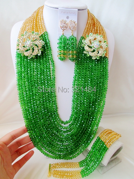 Luxury champagne gold green 26 costume african jewelry sets new nigerian wedding african bead set VC746<br><br>Aliexpress