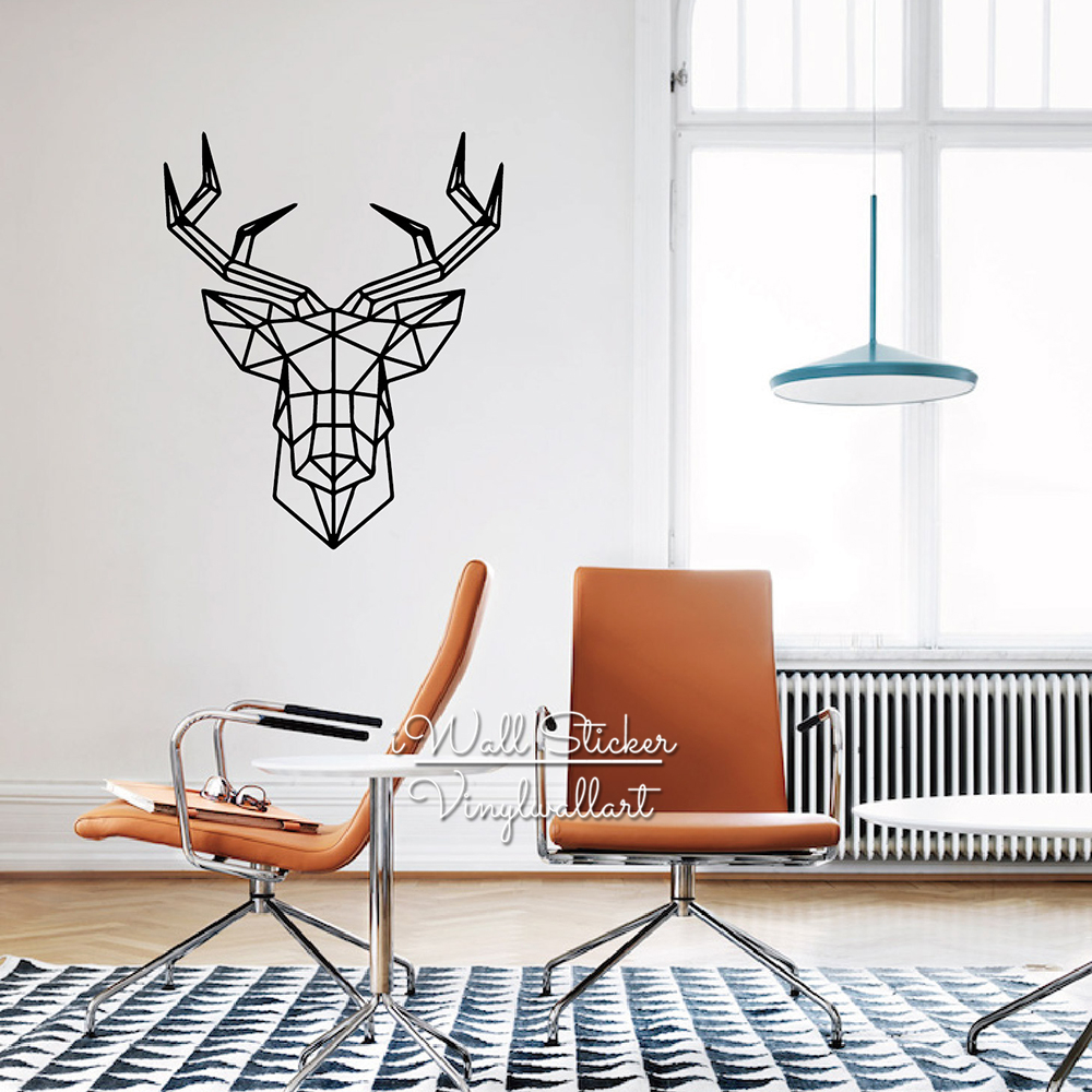 New Design Wall Art : Geometric deer wall sticker modern