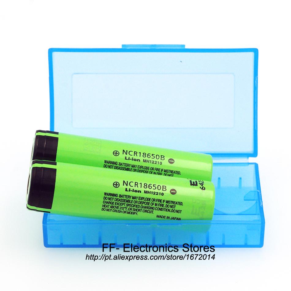2016 2PCS Original NCR18650B 3.7V 3400mah 18650 rechargeable lithium battery for Panasonic +18650 Battery Storage Box(China (Mainland))